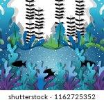 paper art undersea | Shutterstock .eps vector #1162725352