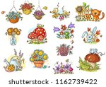 Stock vector simple and positive cartoon illustrations of neutral nature to fill in small blank spaces in your 1162739422