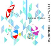 beach umbrella ball swimsuit...   Shutterstock .eps vector #1162747855