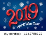 2019 happy new year. tape red... | Shutterstock .eps vector #1162758322