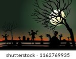 vector ghost in the graveyard | Shutterstock .eps vector #1162769935