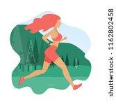 running girl. woman jogging... | Shutterstock .eps vector #1162802458
