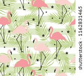 pink flamingos  stars and palm... | Shutterstock .eps vector #1162831465