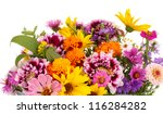 Stock photo beautiful bouquet of bright flowers in basket isolated on white 116284282