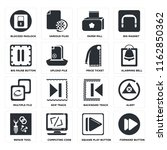 set of 16 icons such as forward ...