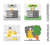 set of 4 vector icons such as... | Shutterstock .eps vector #1162854082