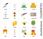 set of 16 icons such as farm ...