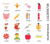 set of 16 icons such as trough  ...