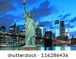 brooklyn bridge and the statue... | Shutterstock . vector #116286436