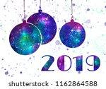 starry new year balls postcard | Shutterstock . vector #1162864588