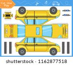 cut and glue the paper a taxi... | Shutterstock .eps vector #1162877518