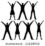 row people silhouette vector