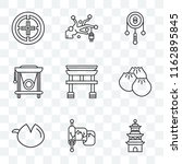 set of 9 transparent icons such ... | Shutterstock .eps vector #1162895845