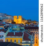 skyline of lisbon old town with ... | Shutterstock . vector #1162898062