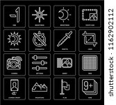 set of 16 icons such as nine ...