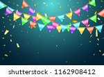garland flag and confetti in... | Shutterstock .eps vector #1162908412