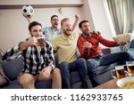 group of football fans watching ... | Shutterstock . vector #1162933765