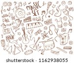 hand drawn music doodle icons... | Shutterstock .eps vector #1162938055