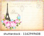 old blank postcard with post... | Shutterstock .eps vector #1162949608