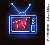 old neon tv with antenna on... | Shutterstock .eps vector #1162953022