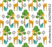 giraffe with exotic flower and... | Shutterstock .eps vector #1162960012