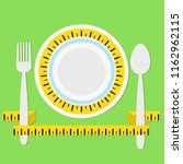 plate with measuring tape  fork ... | Shutterstock . vector #1162962115