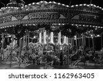 fairground carousel black and...   Shutterstock . vector #1162963405