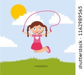 cute smiling girl jumping with...   Shutterstock .eps vector #1162989565