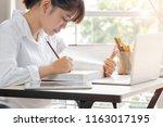 student learning online study... | Shutterstock . vector #1163017195