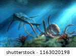 Under the surface of the Cretaceous sea, two mighty beasts do battle.  A giant octopus has snared a styxosaurus in its tentacles, a fight with the long necked marine reptile ensues. 3D Rendering