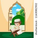 a muslim boy study qur'an... | Shutterstock .eps vector #1163082502