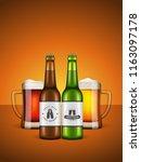 realistic craft beer bottles... | Shutterstock .eps vector #1163097178