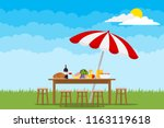 picnic in nature. a table with... | Shutterstock .eps vector #1163119618