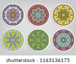 decorative round ornaments set  ... | Shutterstock .eps vector #1163136175