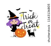 trick or treat calligraphy hand ... | Shutterstock .eps vector #1163136805