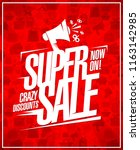 super sale  crazy discounts ... | Shutterstock .eps vector #1163142985