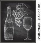 hand drawn chalk graphic... | Shutterstock .eps vector #1163144485