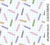 cute colorful pen pattern on...   Shutterstock . vector #1163158042