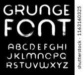 grunge paintbrush font | Shutterstock .eps vector #1163160325