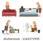 maids work set. women with... | Shutterstock .eps vector #1163171935