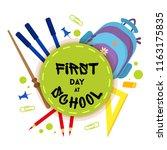 welcome back to school label ... | Shutterstock .eps vector #1163175835