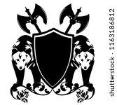 bears guarding heraldic shield... | Shutterstock .eps vector #1163186812