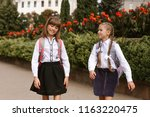 schoolgirls go to school | Shutterstock . vector #1163220475