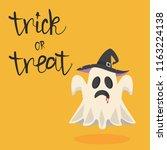 halloween ghost vector with hat | Shutterstock .eps vector #1163224138