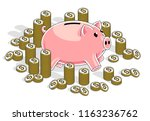 piggy bank with cent coins... | Shutterstock .eps vector #1163236762