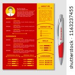 resume  cv template with nice... | Shutterstock .eps vector #1163237455