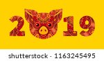 pig is a symbol of the 2019... | Shutterstock .eps vector #1163245495