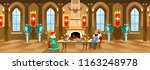 cartoon castle hall with king... | Shutterstock .eps vector #1163248978