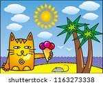 a red cartoon cat with ice... | Shutterstock .eps vector #1163273338