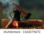 bush craft still life  pot of... | Shutterstock . vector #1163275672